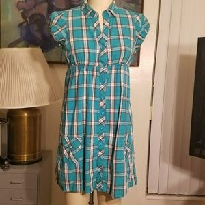 Lei Taylor Swift Empire Waist Plaid Shirtdress